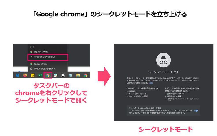 1,Google chromeのシークレットモードを立ち上げる