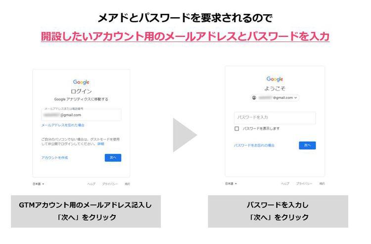 4.開設したいアカウント用のメールアドレスとパスワードを入力