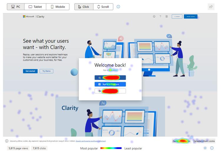 Clarityの例1:クリックされているところに色がつき、よくクリックされているほど赤く表示される。